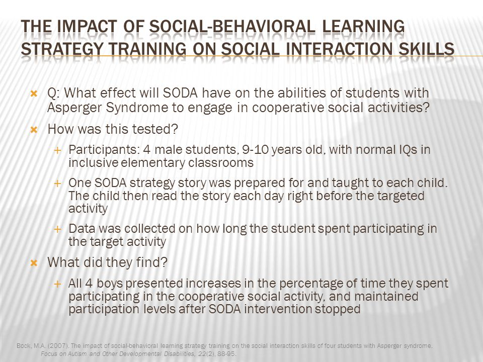 The Impact of Social-Behavioral Learning Strategy Training on Social Interaction Skills