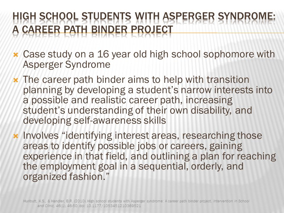 High School Students with Asperger Syndrome: A career path binder project