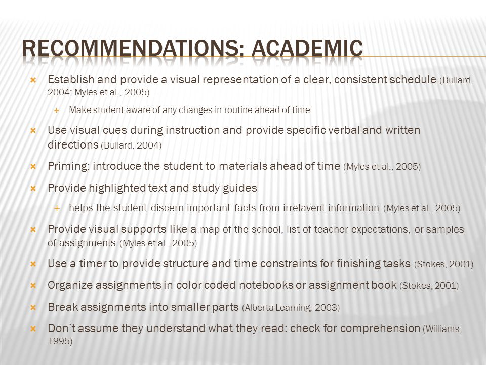 Recommendations: Academic