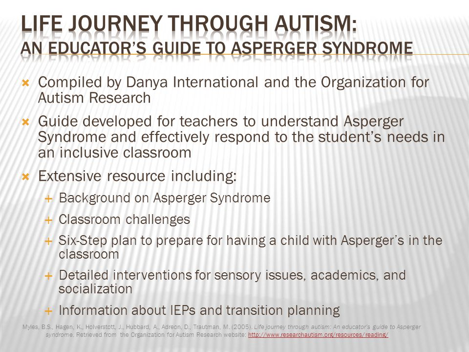 Life Journey through Autism: An Educator's Guide to Asperger Syndrome