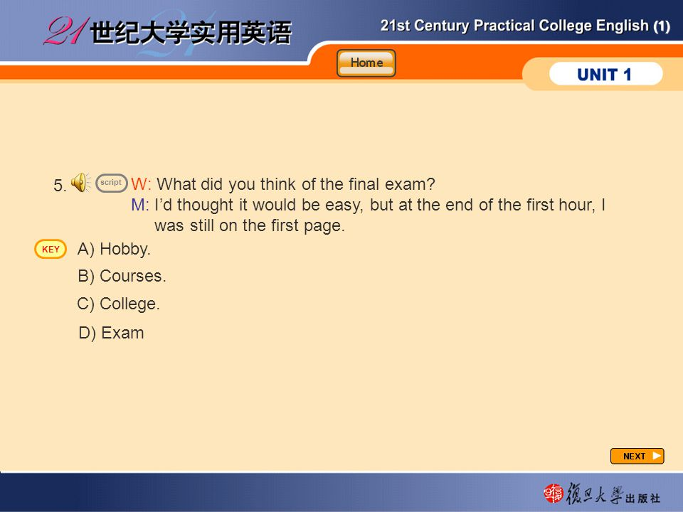 CP-lp5 5. W: What did you think of the final exam