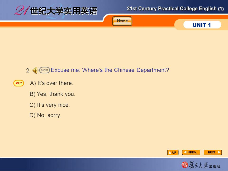 CP-lp7 2. Excuse me. Where's the Chinese Department