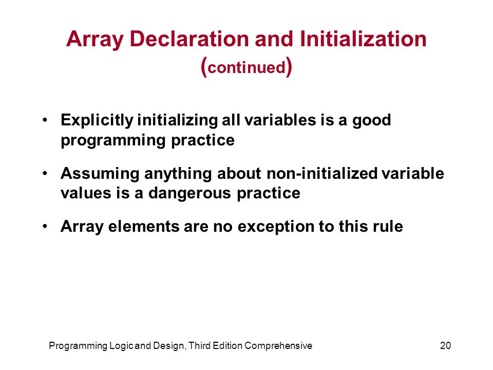 Array Declaration and Initialization (continued)