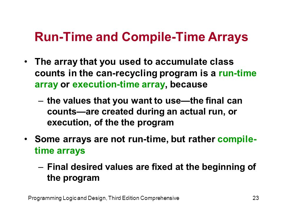 Run-Time and Compile-Time Arrays