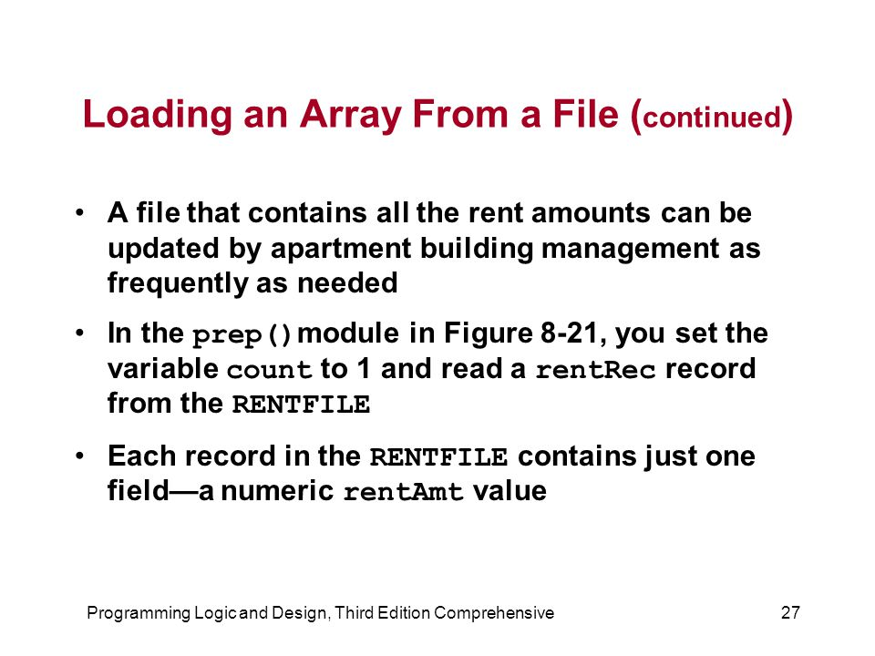 Loading an Array From a File (continued)