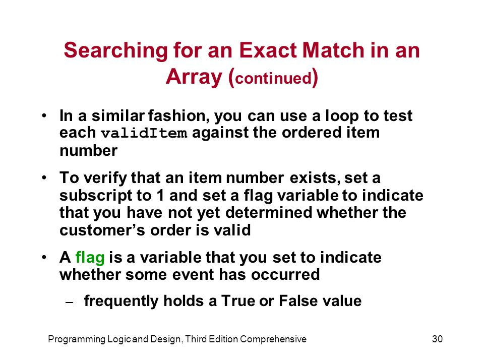 Searching for an Exact Match in an Array (continued)