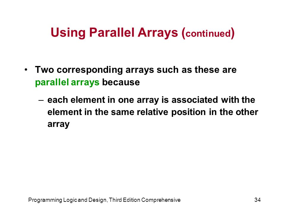 Using Parallel Arrays (continued)
