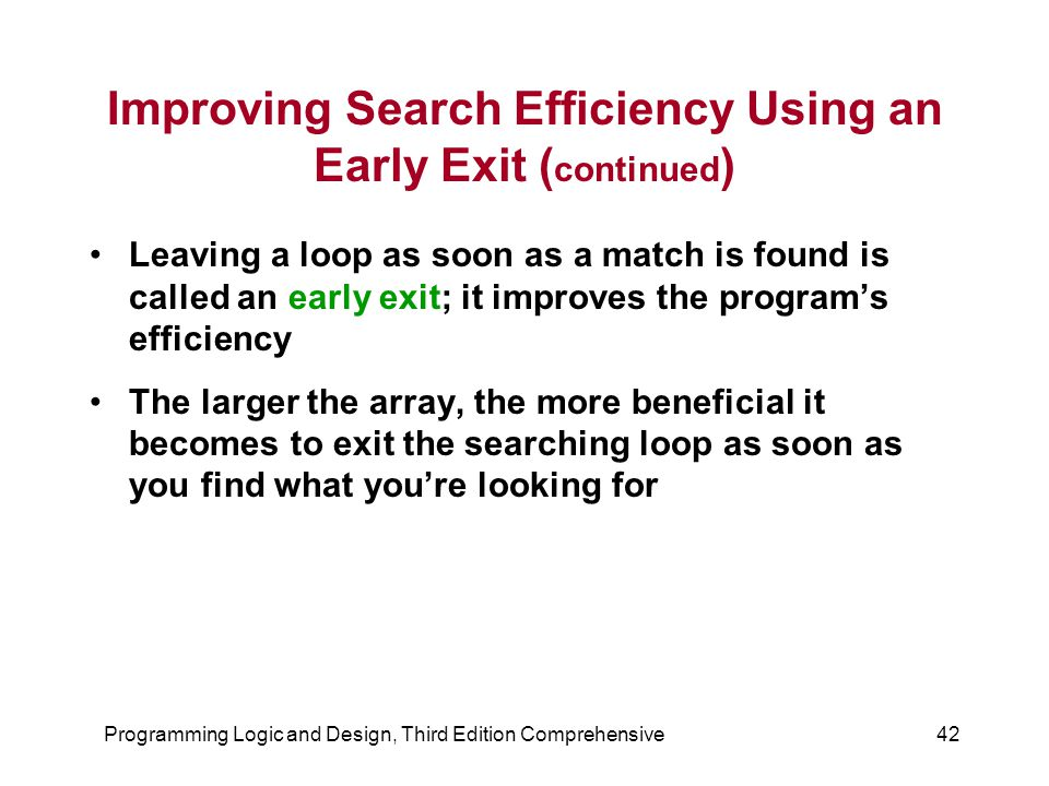 Improving Search Efficiency Using an Early Exit (continued)