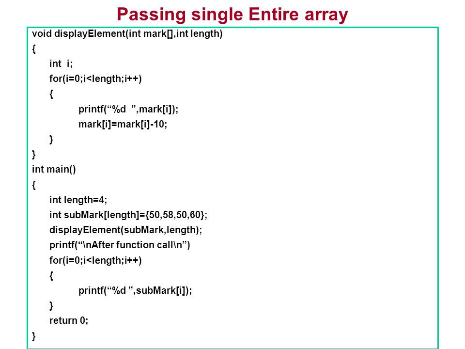 Passing single Entire array