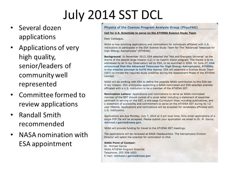 July 2014 SST DCL Several dozen applications