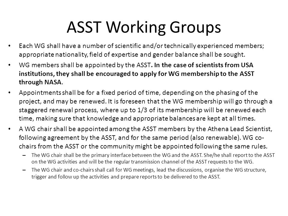 ASST Working Groups