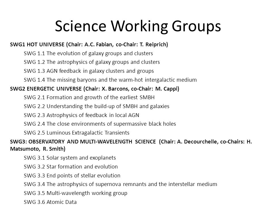 Science Working Groups