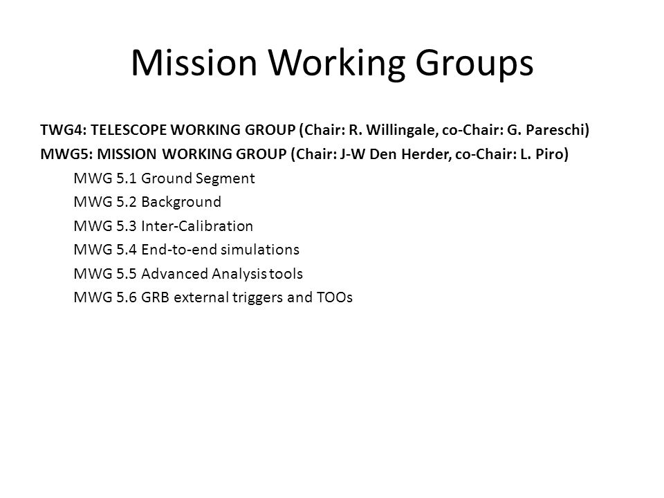 Mission Working Groups