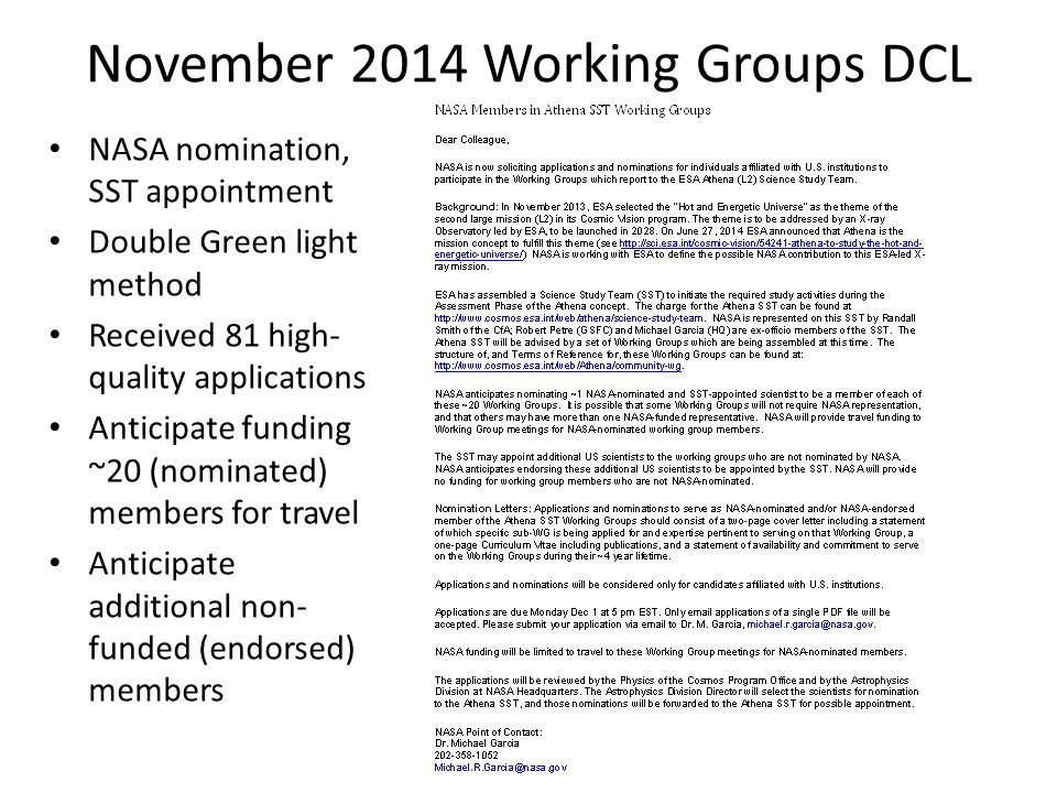 November 2014 Working Groups DCL