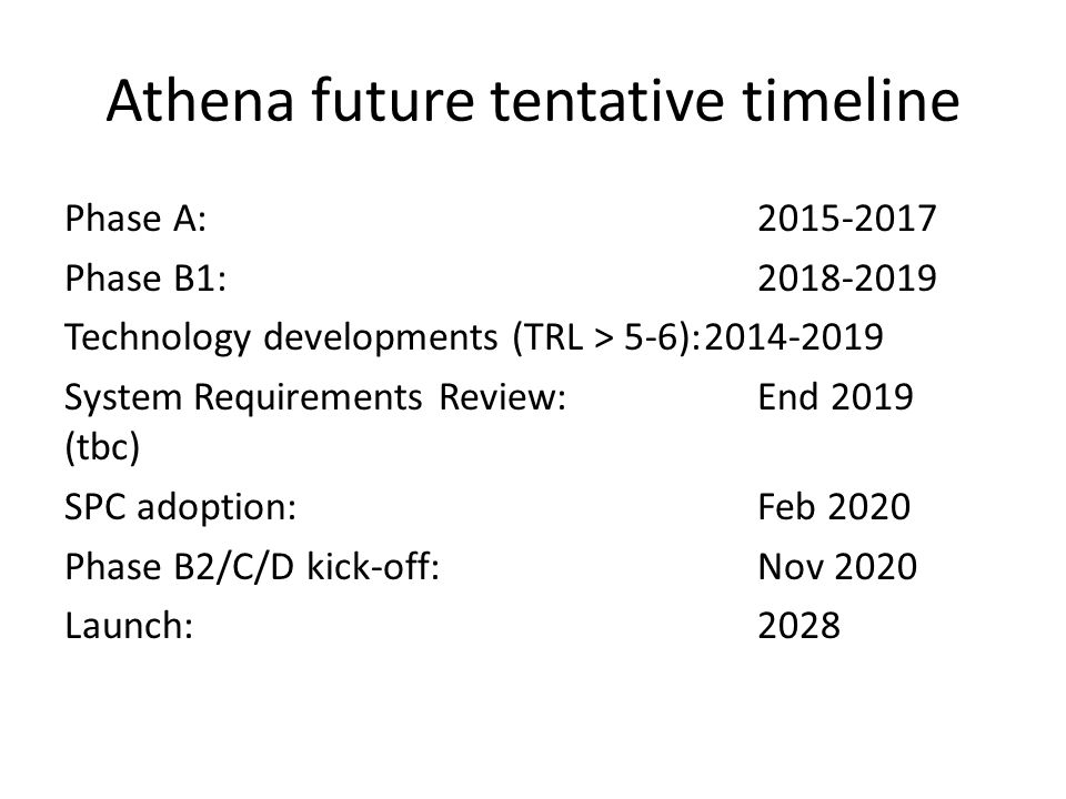 Athena future tentative timeline