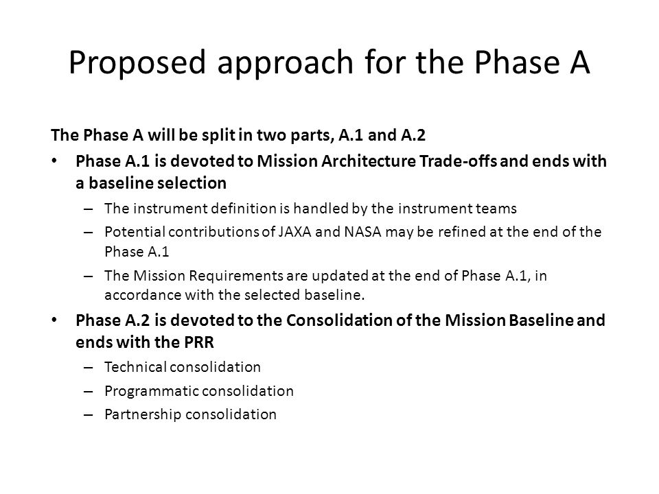 Proposed approach for the Phase A