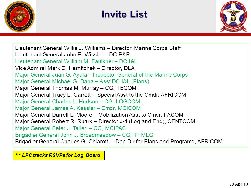 Invite List Lieutenant General Willie J. Williams – Director, Marine Corps Staff. Lieutenant General John E. Wissler – DC P&R.