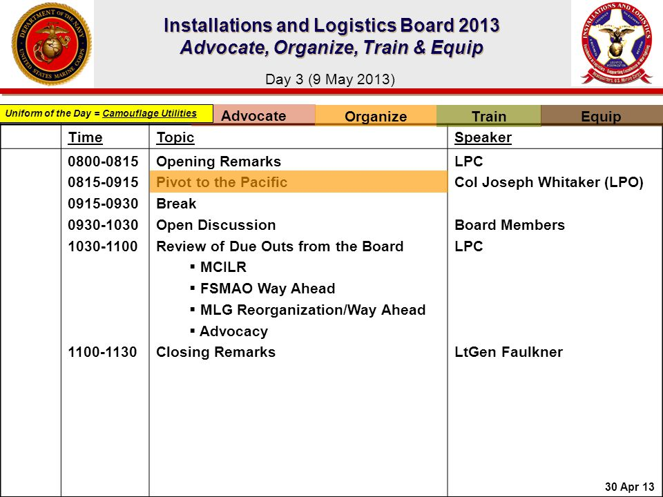 Installations and Logistics Board 2013 Advocate, Organize, Train & Equip