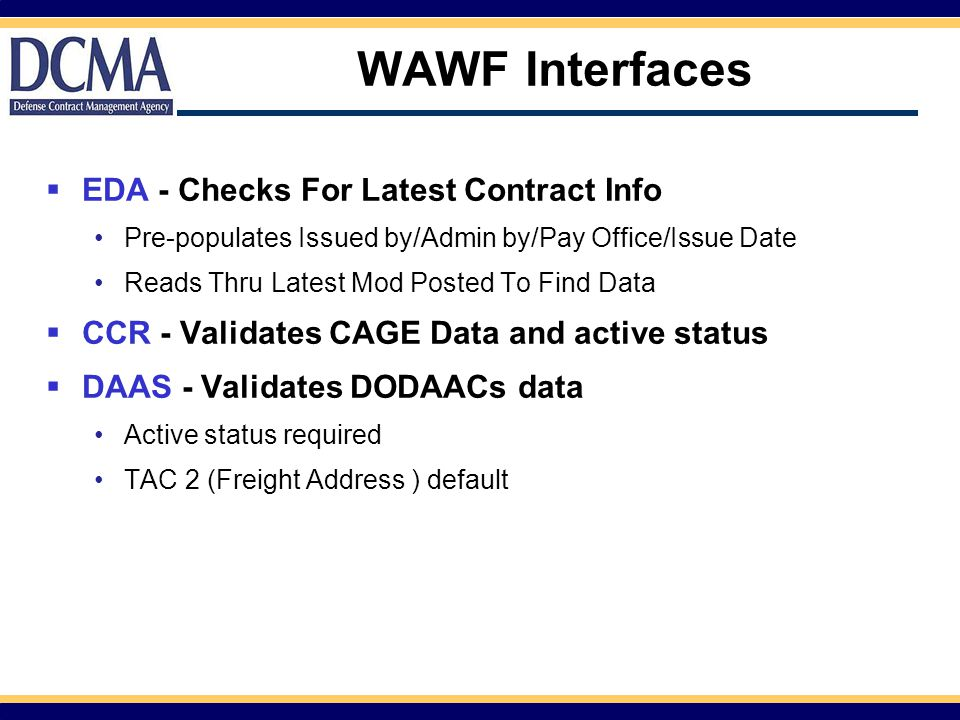WAWF Interfaces EDA - Checks For Latest Contract Info