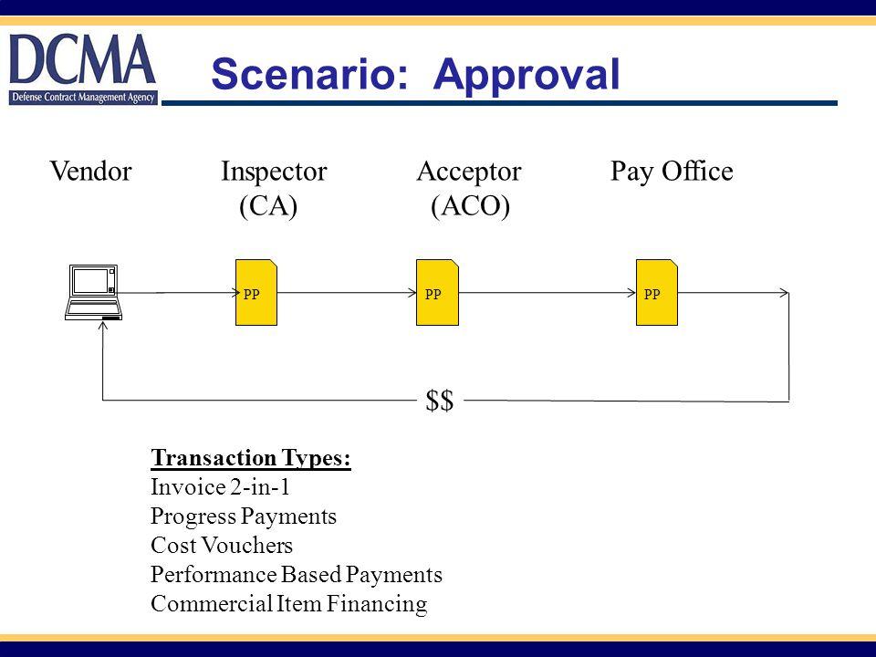 Scenario: Approval Vendor Inspector Acceptor Pay Office (CA) (ACO) $$