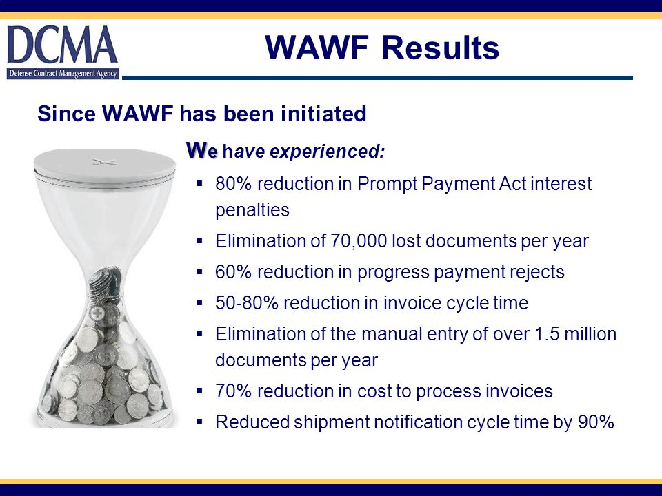 WAWF Results Since WAWF has been initiated We have experienced: