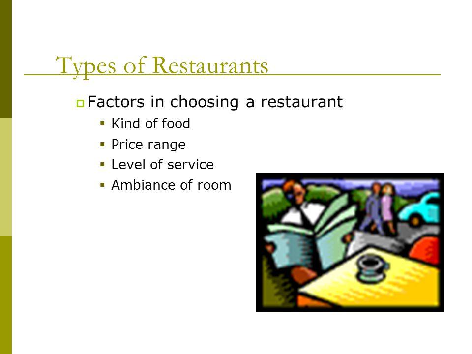 Types of Restaurants Factors in choosing a restaurant Kind of food