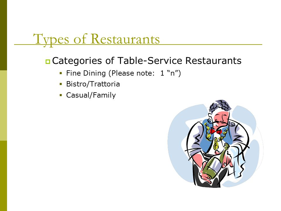 fine dining proper table service. types of restaurants categories table-service fine dining proper table service