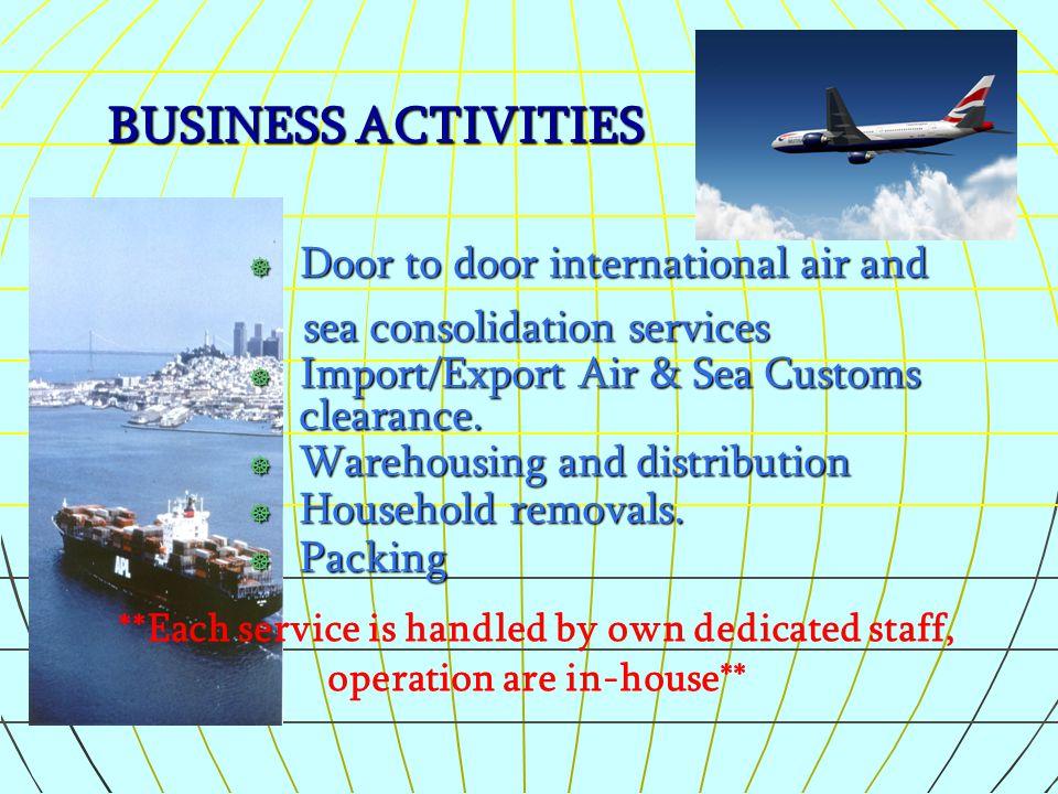 BUSINESS ACTIVITIES Door to door international air and