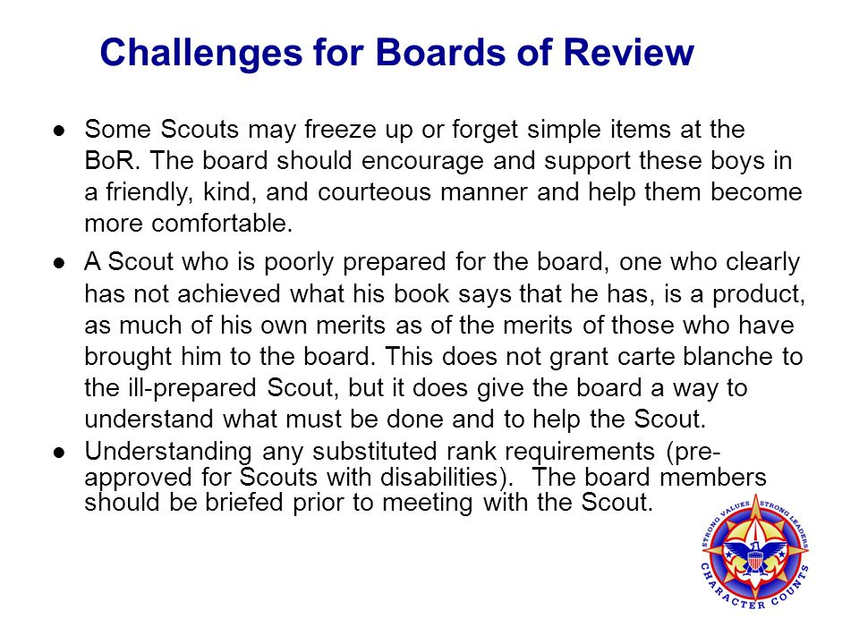 Challenges for Boards of Review