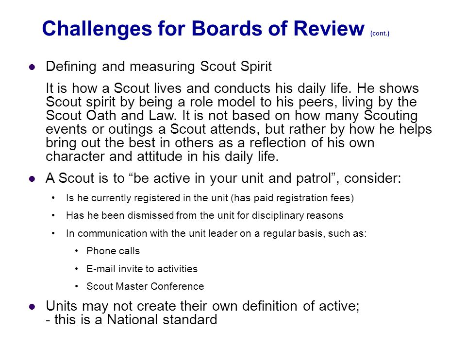 Challenges for Boards of Review (cont.)