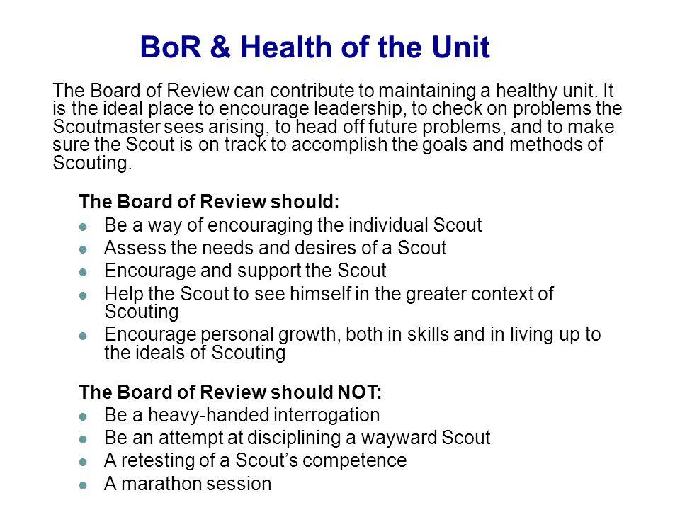 05/31/10 BoR & Health of the Unit.