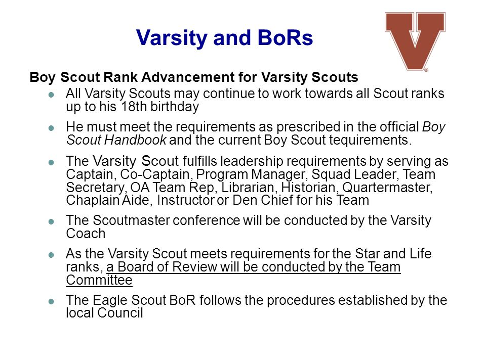 Varsity and BoRs Boy Scout Rank Advancement for Varsity Scouts