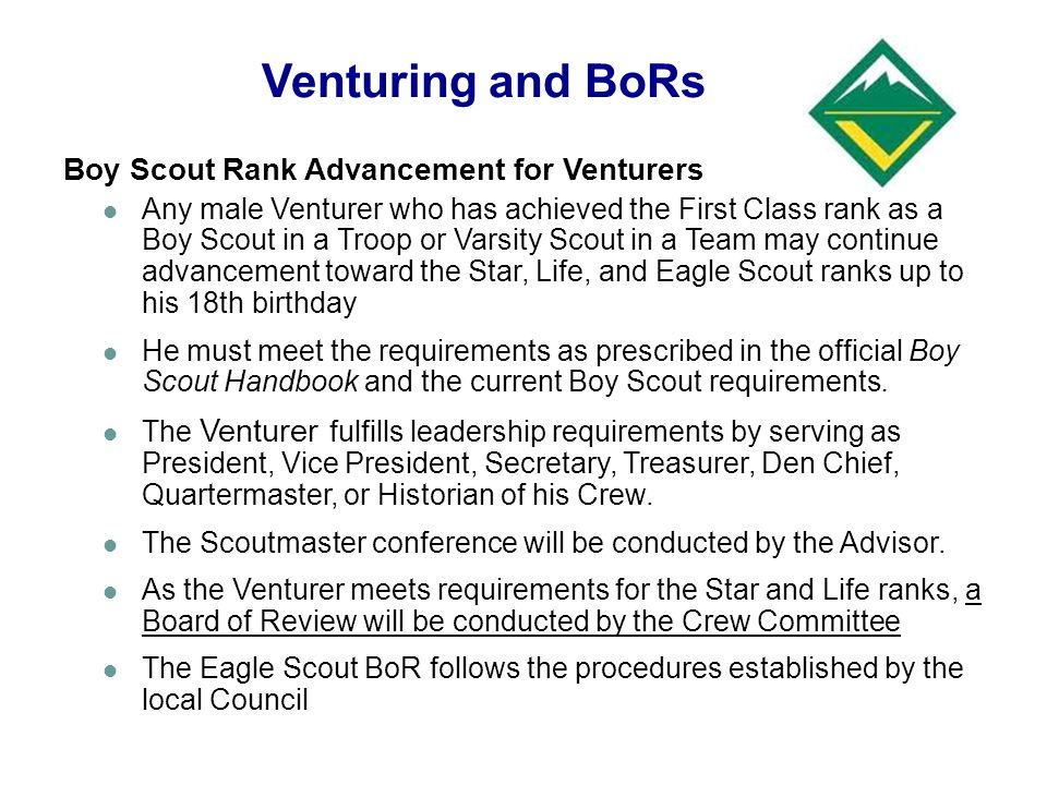 Venturing and BoRs Boy Scout Rank Advancement for Venturers