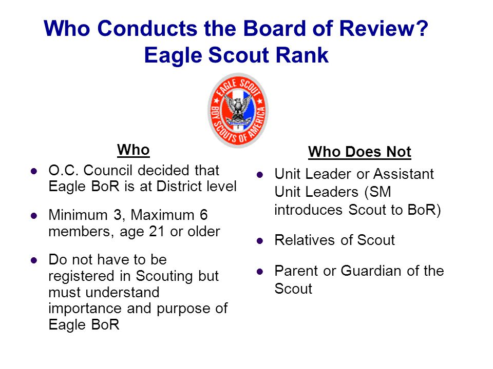 Who Conducts the Board of Review Eagle Scout Rank