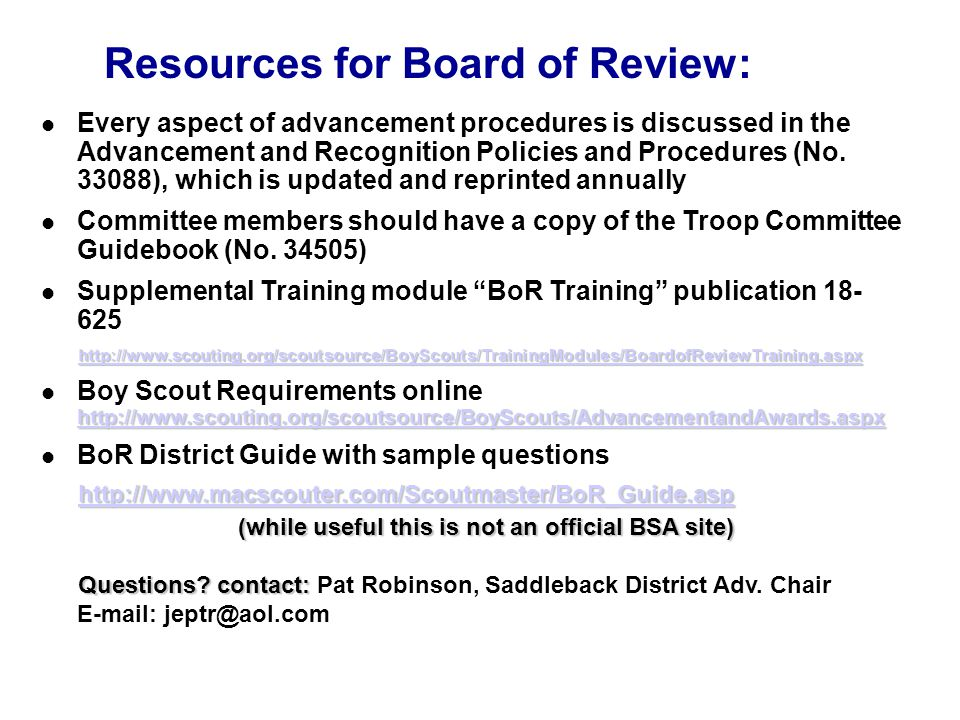 Resources for Board of Review: