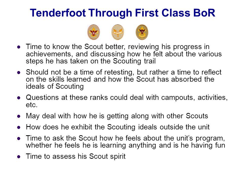 Tenderfoot Through First Class BoR