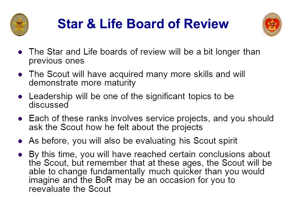 Star & Life Board of Review