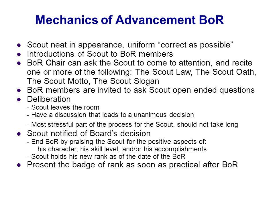 Mechanics of Advancement BoR