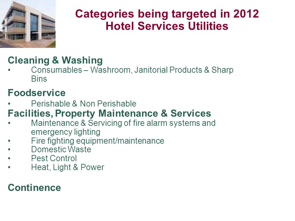 Categories being targeted in 2012 Hotel Services Utilities