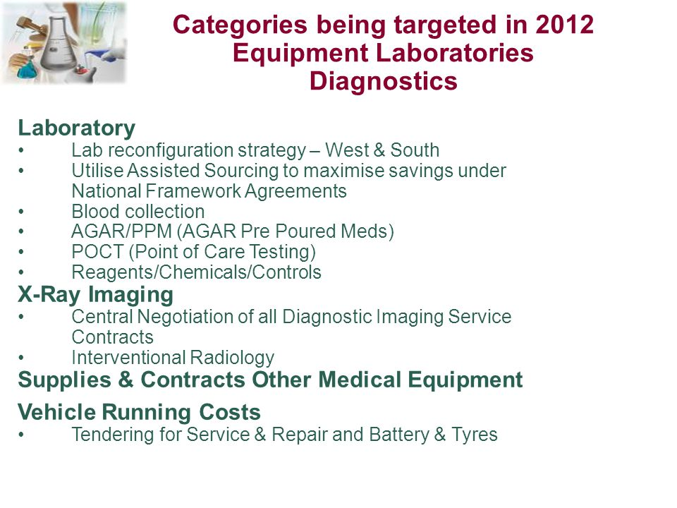 Categories being targeted in 2012 Equipment Laboratories Diagnostics