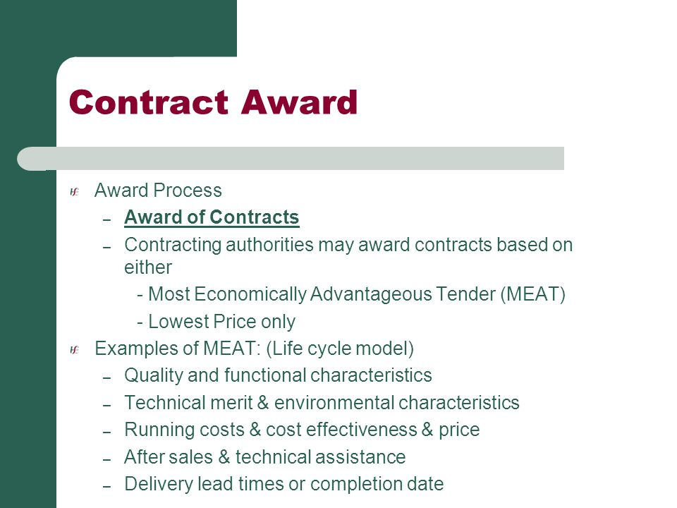 Contract Award Award Process Award of Contracts