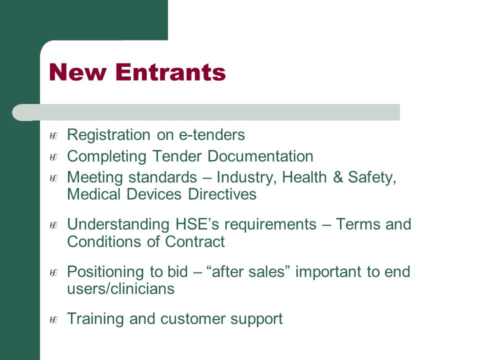 New Entrants Registration on e-tenders Completing Tender Documentation