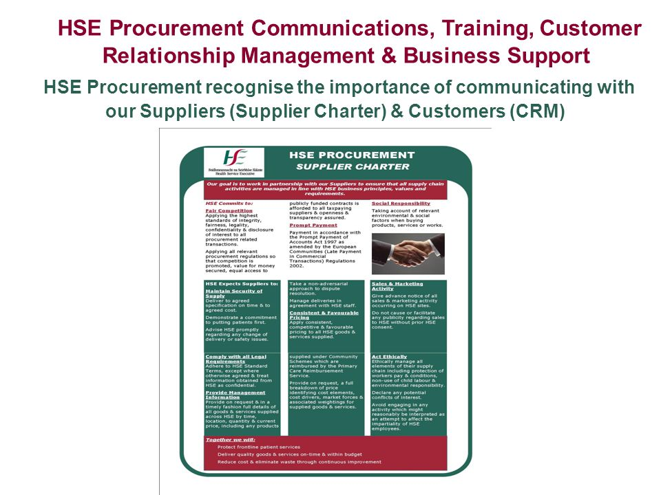 HSE Procurement Communications, Training, Customer Relationship Management & Business Support