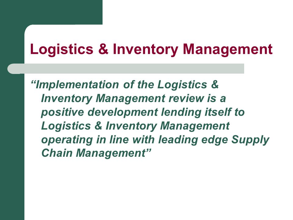 Logistics & Inventory Management