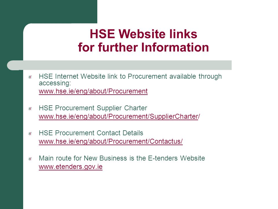 HSE Website links for further Information