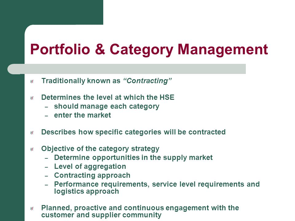 Portfolio & Category Management