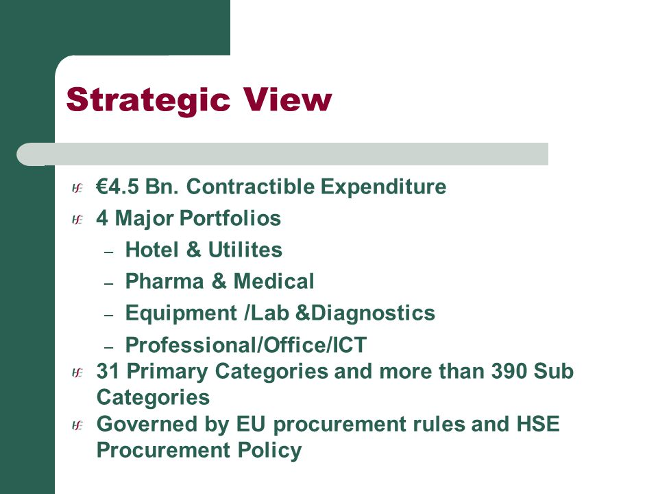 Strategic View €4.5 Bn. Contractible Expenditure 4 Major Portfolios