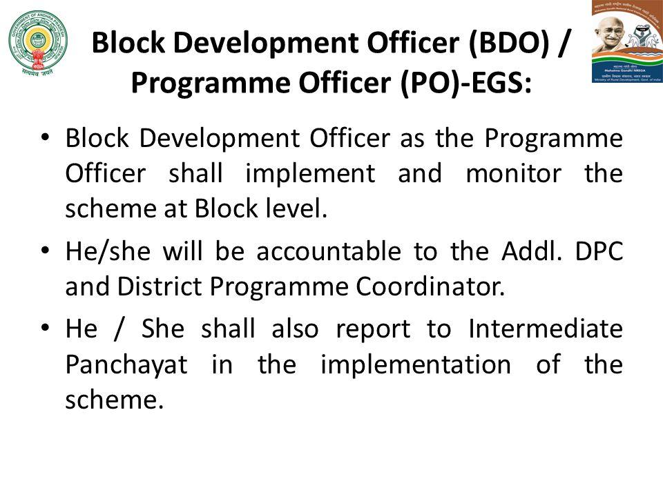 Block Development Officer (BDO) / Programme Officer (PO)-EGS: