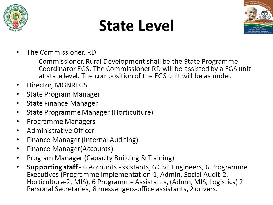 State Level The Commissioner, RD