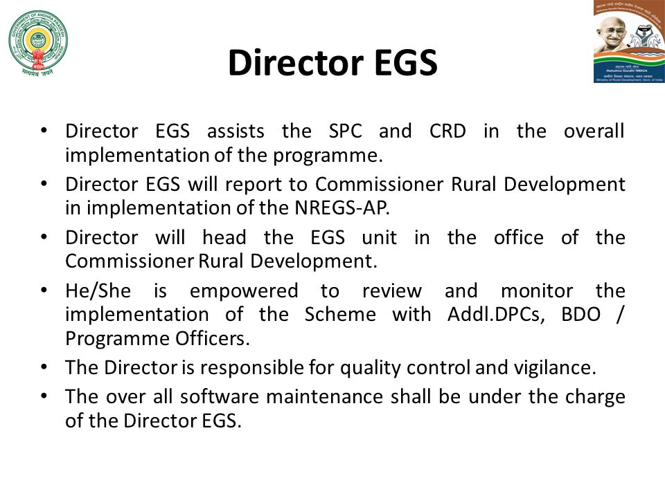 Director EGS Director EGS assists the SPC and CRD in the overall implementation of the programme.